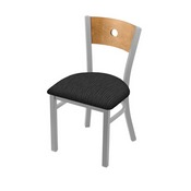 """630 Voltaire 18"""" Chair with Anodized Nickel Finish, Medium Back, and Graph Coal Seat"""