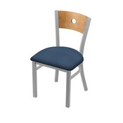 """630 Voltaire 18"""" Chair with Anodized Nickel Finish, Medium Back, and Rein Bay Seat"""