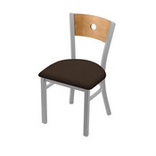 "630 Voltaire 18"" Chair with Anodized Nickel Finish, Medium Back, and Rein Coffee Seat"