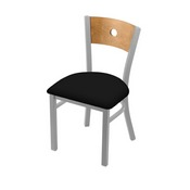 """630 Voltaire 18"""" Chair with Anodized Nickel Finish, Medium Back, and Black Vinyl Seat"""