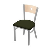 "630 Voltaire 18"" Chair with Anodized Nickel Finish, Natural Back, and Canter Pine Seat"