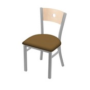 "630 Voltaire 18"" Chair with Anodized Nickel Finish, Natural Back, and Canter Saddle Seat"