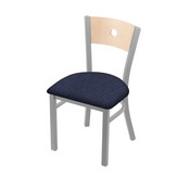 """630 Voltaire 18"""" Chair with Anodized Nickel Finish, Natural Back, and Graph Anchor Seat"""