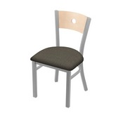 "630 Voltaire 18"" Chair with Anodized Nickel Finish, Natural Back, and Graph Chalice Seat"