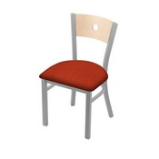 """630 Voltaire 18"""" Chair with Anodized Nickel Finish, Natural Back, and Graph Poppy Seat"""