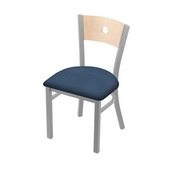 "630 Voltaire 18"" Chair with Anodized Nickel Finish, Natural Back, and Rein Bay Seat"