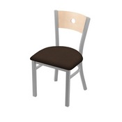 """630 Voltaire 18"""" Chair with Anodized Nickel Finish, Natural Back, and Rein Coffee Seat"""