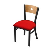 """630 Voltaire 18"""" Chair with Black Wrinkle Finish, Medium Back, and Canter Red Seat"""