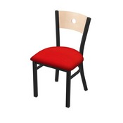 """630 Voltaire 18"""" Chair with Black Wrinkle Finish, Natural Back, and Canter Red Seat"""