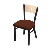 "630 Voltaire 18"" Chair with Black Wrinkle Finish, Natural Back, and Rein Adobe Seat"