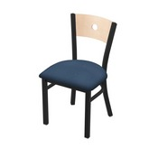 """630 Voltaire 18"""" Chair with Black Wrinkle Finish, Natural Back, and Rein Bay Seat"""