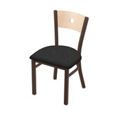 """630 Voltaire 18"""" Chair with Bronze Finish, Natural Back, and Graph Coal Seat"""