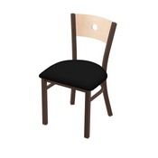 "630 Voltaire 18"" Chair with Bronze Finish, Natural Back, and Black Vinyl Seat"