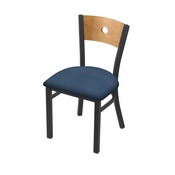 "630 Voltaire 18"" Chair with Pewter Finish, Medium Back, and Rein Bay Seat"