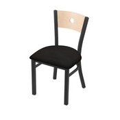 "630 Voltaire 18"" Chair with Pewter Finish, Natural Back, and Canter Espresso Seat"
