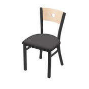 """630 Voltaire 18"""" Chair with Pewter Finish, Natural Back, and Canter Storm Seat"""