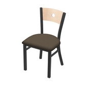 "630 Voltaire 18"" Chair with Pewter Finish, Natural Back, and Canter Earth Seat"