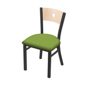 "630 Voltaire 18"" Chair with Pewter Finish, Natural Back, and Canter Kiwi Green Seat"