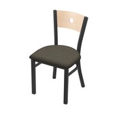 """630 Voltaire 18"""" Chair with Pewter Finish, Natural Back, and Graph Chalice Seat"""