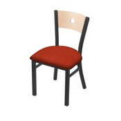 "630 Voltaire 18"" Chair with Pewter Finish, Natural Back, and Graph Poppy Seat"
