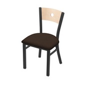 "630 Voltaire 18"" Chair with Pewter Finish, Natural Back, and Rein Coffee Seat"