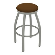 802 Misha Swivel Stool with Anodized Nickel Finish and Canter Thatch Seat
