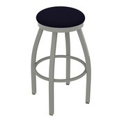 802 Misha Swivel Stool with Anodized Nickel Finish and Canter Twilight Seat