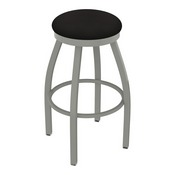 802 Misha Swivel Stool with Anodized Nickel Finish and Canter Espresso Seat