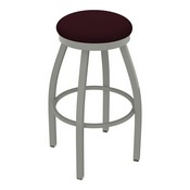 802 Misha Swivel Stool with Anodized Nickel Finish and Canter Bordeaux Seat