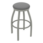 802 Misha Swivel Stool with Anodized Nickel Finish and Canter Folkstone Grey Seat
