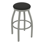802 Misha Swivel Stool with Anodized Nickel Finish and Canter Iron Seat