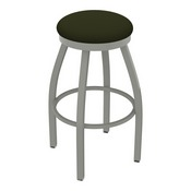 802 Misha Swivel Stool with Anodized Nickel Finish and Canter Pine Seat