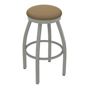 802 Misha Swivel Stool with Anodized Nickel Finish and Canter Sand Seat
