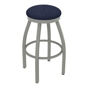 802 Misha Swivel Stool with Anodized Nickel Finish and Graph Anchor Seat
