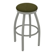 802 Misha Swivel Stool with Anodized Nickel Finish and Graph Parrot Seat
