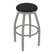 802 Misha Swivel Stool with Anodized Nickel Finish and Graph Coal Seat