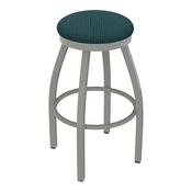 802 Misha Swivel Stool with Anodized Nickel Finish and Graph Tidal Seat
