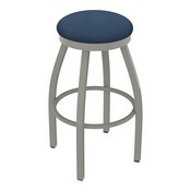 802 Misha Swivel Stool with Anodized Nickel Finish and Rein Bay Seat