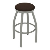 802 Misha Swivel Stool with Anodized Nickel Finish and Rein Coffee Seat