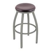 802 Misha Swivel Stool with Anodized Nickel Finish and Dark Cherry Oak Seat