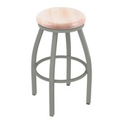 802 Misha Swivel Stool with Anodized Nickel Finish and Natural Maple Seat