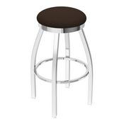 802 Misha Swivel Stool with Chrome Finish and Rein Coffee Seat