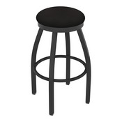 802 Misha Swivel Stool with Pewter Finish and Canter Espresso Seat