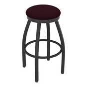 802 Misha Swivel Stool with Pewter Finish and Canter Bordeaux Seat
