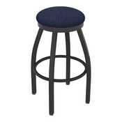 802 Misha Swivel Stool with Pewter Finish and Graph Anchor Seat