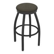 802 Misha Swivel Stool with Pewter Finish and Graph Chalice Seat