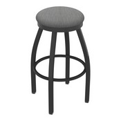802 Misha Swivel Stool with Pewter Finish and Graph Alpine Seat