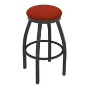 802 Misha Swivel Stool with Pewter Finish and Graph Poppy Seat