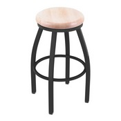 802 Misha Swivel Stool with Pewter Finish and Natural Maple Seat
