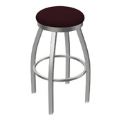 802 Misha Swivel Stool with Stainless Finish and Canter Bordeaux Seat